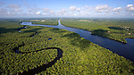 Aerial Photo (helicopter - 250 to 300 feet AGL) above Trout Island, one of the Seven Sisters Islands located in the St. Johns River in Putnam County. The serpentine waterway is Trout Creek. This area is south of the Buffalo Bluff railroad trestle bridge in Satsuma, Florida. View to the southwest looking into the mouth of the Cross Florida Barge Canal. Rodman Dam and Lake Ocklawaha is on the horizon. Image was shot on 06.07.08