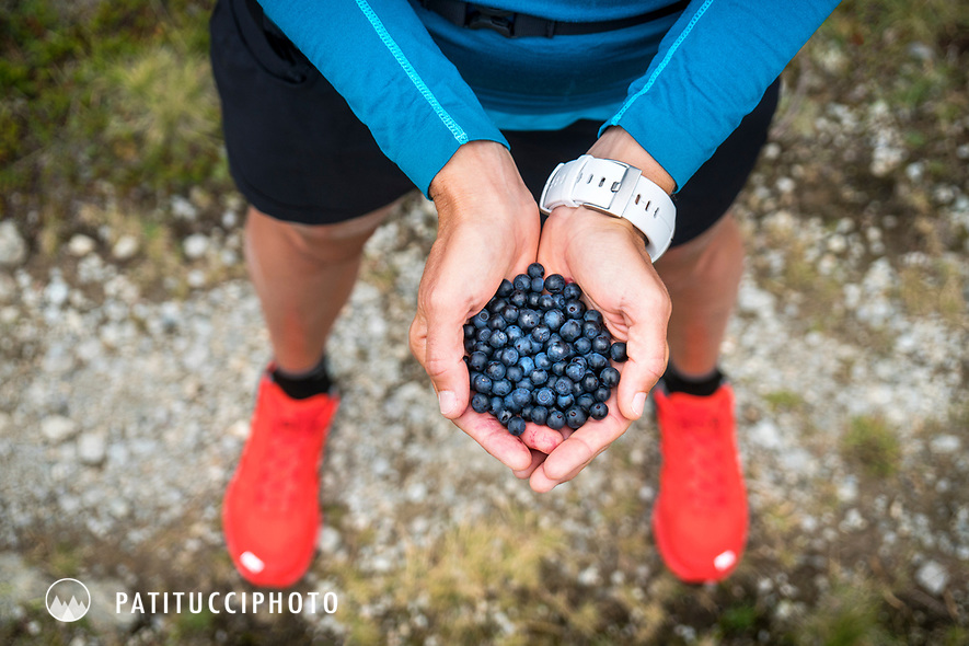 A woman holds her hands cupped full of wild blueberries picked while on a trail run in the Swiss Alps.