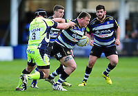David Wilson of Bath Rugby fends Vadim Cobilas of Sale Sharks. Aviva Premiership match, between Bath Rugby and Sale Sharks on April 23, 2016 at the Recreation Ground in Bath, England. Photo by: Patrick Khachfe / Onside Images