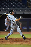 Surprise Saguaros Brewer Hicklen (23), of the Kansas City Royals organization, hits a home run to right field during an Arizona Fall League game against the Peoria Javelinas on September 22, 2019 at Peoria Sports Complex in Peoria, Arizona. Surprise defeated Peoria 2-1. (Zachary Lucy/Four Seam Images)