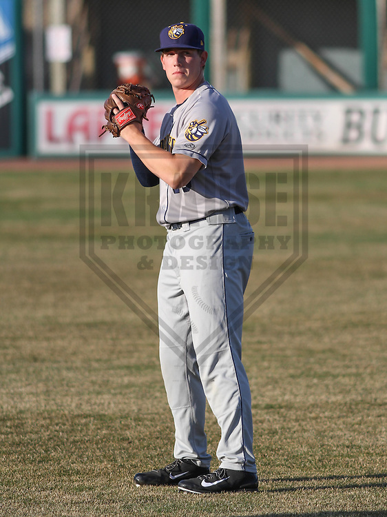 APPLETON - April 2015:  Burlington Bees pitcher Jeremy Rhoades (40) during a  game against the Wisconsin Timber Rattlers on April 16th, 2015 at Fox Cities Stadium in Appleton, Wisconsin. (Photo Credit: Brad Krause)