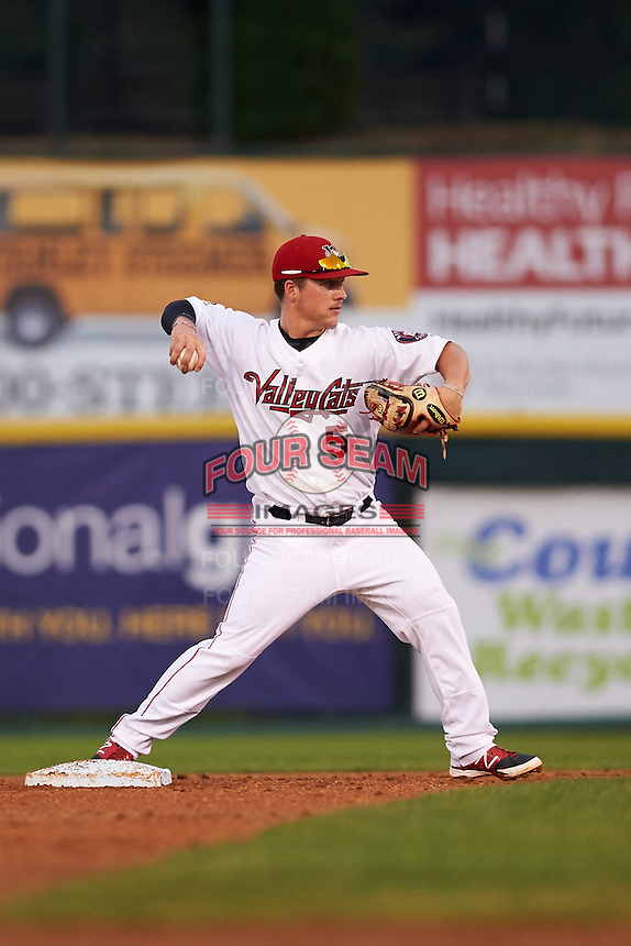 Tri-City ValleyCats second baseman Brooks Marlow (5) throws to first during a game against the Brooklyn Cyclones on September 1, 2015 at Joseph L. Bruno Stadium in Troy, New York.  Tri-City defeated Brooklyn 5-4.  (Mike Janes/Four Seam Images)