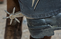 Trinidad Cuba cowboy close up of spurs in saddle