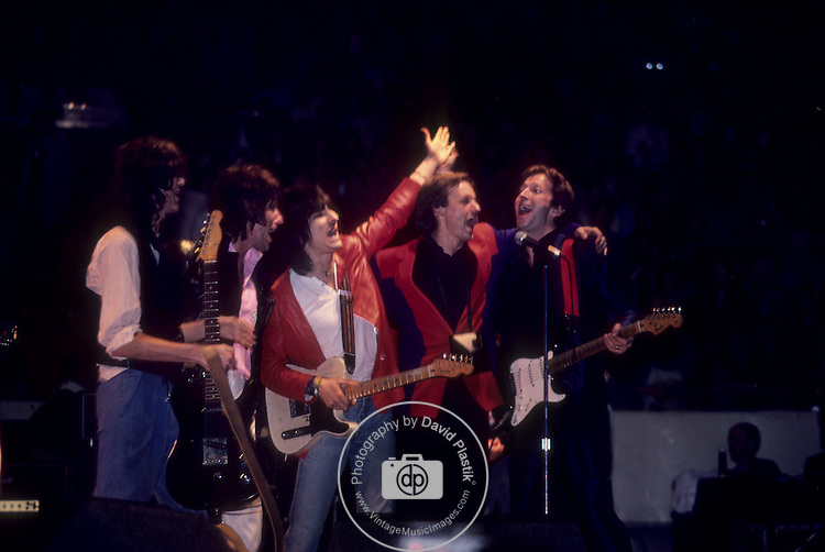 Jimmy Page, Jeff Beck, Ron Wood, Andy Fairweather-low & Eric Clapton at ARMS Concert 1983.