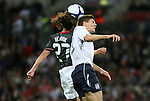 28 May 2008: Frankie Hejduk (USA) (27) and Steven Gerrard (ENG) (r) challenge for a header. The England Men's National Team defeated the United States Men's National Team 2-0 at Wembley Stadium in London, England in an international friendly soccer match.
