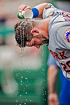 1 August 2018: New York Mets catcher Kevin Plawecki cools off in the dugout during a game against the Washington Nationals at Nationals Park in Washington, DC. The Nationals defeated the Mets 5-3 to sweep the 2-game weekday series. Mandatory Credit: Ed Wolfstein Photo *** RAW (NEF) Image File Available ***