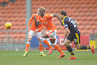 Blackpool's Armand Gnanduillet under pressure from Oxford United's John Mousinho<br /> <br /> Photographer Kevin Barnes/CameraSport<br /> <br /> The EFL Sky Bet League One - Blackpool v Oxford United - Saturday 23rd February 2019 - Bloomfield Road - Blackpool<br /> <br /> World Copyright © 2019 CameraSport. All rights reserved. 43 Linden Ave. Countesthorpe. Leicester. England. LE8 5PG - Tel: +44 (0) 116 277 4147 - admin@camerasport.com - www.camerasport.com
