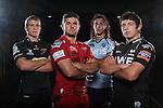 Welsh Regional rugby Players: John Evols (Dragons), Kirby Myhill (Scarlets), Josh Navidi (Blues) & Ross Jones (Ospreys)..28.08.12.©Steve Pope