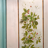 A detail illustrating the delicate brushwork and subtle tones of a decorative panel in a child's bedroom of the atelier of 19th century painter Charles Daubigny