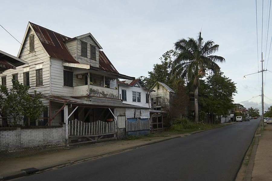 Back street in the capital city of Paramaribo, Suriname.