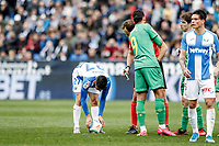 2nd February 2020; Estadio Municipal de Butarque, Madrid, Spain; La Liga Football, Club Deportivo Leganes versus Real Sociedad; Oscar Rodriguez (CD Leganes) places the ball before scoring for a direct free kick, from which he scored the winning goal in the 94th minute of the game