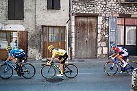 yellow jersey / GC leader Primoz Roglic (SVK/Jumbo-Visma) rolling through town<br /> <br /> Stage 17 from Grenoble to Méribel - Col de la Loze (170km)<br /> <br /> 107th Tour de France 2020 (2.UWT)<br /> (the 'postponed edition' held in september)<br /> <br /> ©kramon