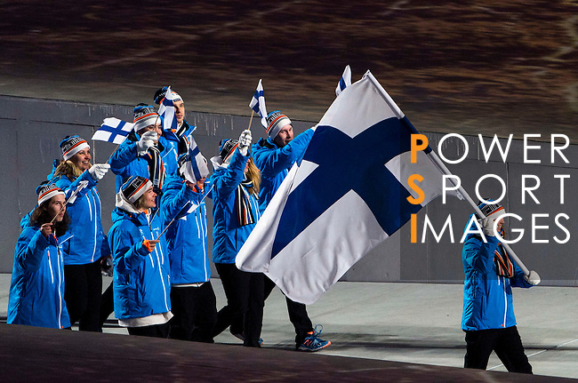 Olympic team of Findland during the parade of nations at the Opening ceremony of the 2014 Sochi Olympic Winter Games at Fisht Olympic Stadium on February 7, 2014 in Sochi, Russia. Photo by Victor Fraile / Power Sport Images