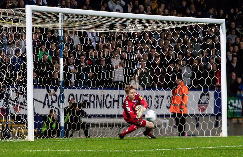 Bolton Wanderers' Matthew Alexander saves a penalty in the shoot out<br /> <br /> Photographer Andrew Kearns/CameraSport<br /> <br /> EFL Leasing.com Trophy - Northern Section - Group F - Bolton Wanderers v Bradford City -  Tuesday 3rd September 2019 - University of Bolton Stadium - Bolton<br />  <br /> World Copyright © 2018 CameraSport. All rights reserved. 43 Linden Ave. Countesthorpe. Leicester. England. LE8 5PG - Tel: +44 (0) 116 277 4147 - admin@camerasport.com - www.camerasport.com