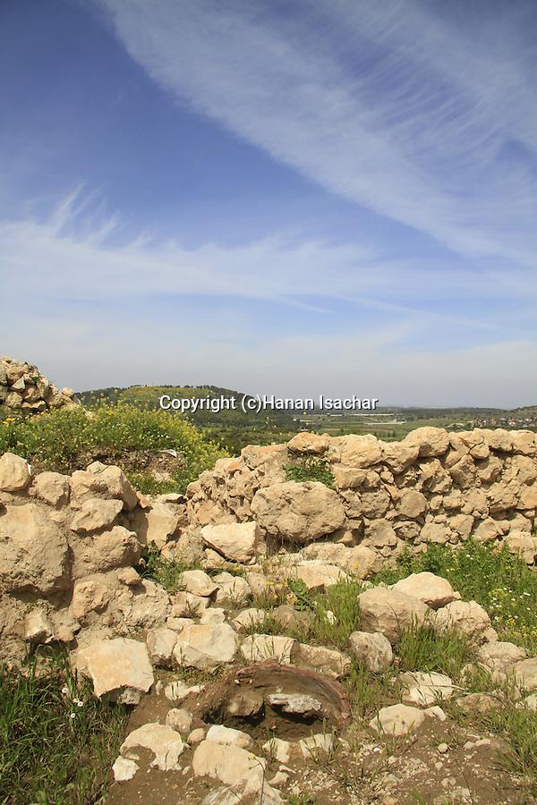 Israel, Shephelah, an ancient oven at Khirbet Qeiyafa, Tel Azekah is in the background