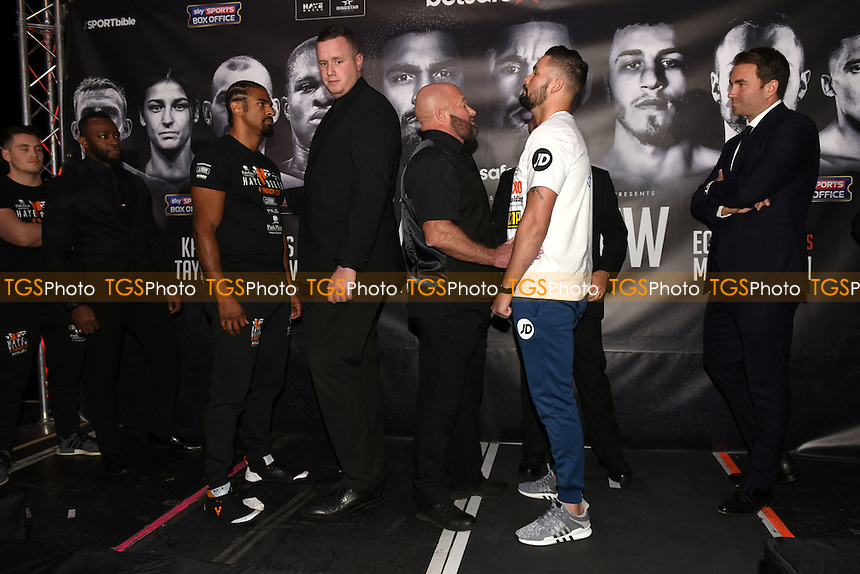 David Haye and Tony Bellew exchange words during a Matchroom Boxing Press Conference at The O2 on 2nd March 2017