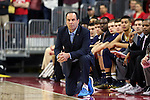 25 January 2015: Notre Dame head coach Mike Brey wears sneakers as part of the American Cancer Society's Coaches vs. Cancer campaign. The North Carolina State University Wolfpack played the University of Notre Dame Fighting Irish in an NCAA Division I Men's basketball game at the PNC Arena in Raleigh, North Carolina. Notre Dame won the game 81-78 in overtime.