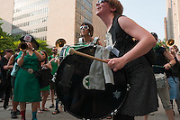 New York, NY -  27 May 2011 -  The Rude Mechanical Orchestra performing outside Manhattan Criminal Court on Centre Street...A coalition of concerned New Yorkers, feminists, women's rights advocates, human rights advocates, gathered outside Manhattan Criminal Court at 100 Centre Street to protest the acquittal of two New York City police officers tried for rape.Kenneth Morreno and Franklin Mata were charged with raping a woman in 2008 but were acquitted of the more serious charge. However, the officers were found guilty of the much lesser charges of official misconduct. They are scheduled to be sentenced June 29 and could face up to two years in prison, though they might only get probation.