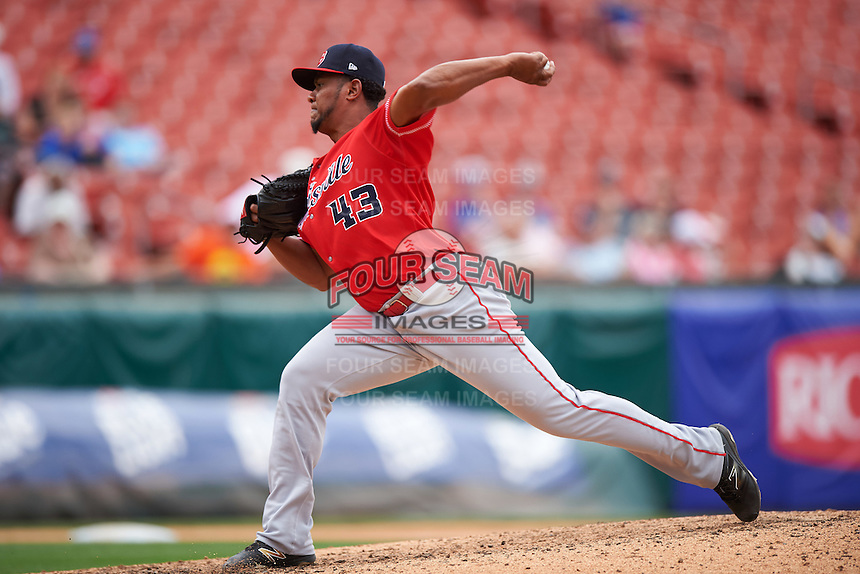 Louisville Bats relief pitcher Wandy Peralta (43) delivers a pitch during a game against the Buffalo Bisons on June 23, 2016 at Coca-Cola Field in Buffalo, New York.  Buffalo defeated Louisville 9-6.  (Mike Janes/Four Seam Images)