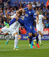 Pictured (L-R): Fernando Llorente of Swansea City is pulled down by Robert Huth of Leicester City Saturday 27 August 2016<br /> Re: Swansea City FC v Leicester City FC Premier League game at the King Power Stadium, Leicester, England, UK