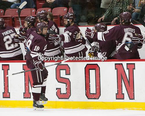 Tylor Spink (Colgate - 18) - The Harvard University Crimson defeated the visiting Colgate University Raiders 7-4 (EN) on Saturday, February 20, 2016, at Bright-Landry Hockey Center in Boston, Massachusetts,