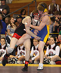 Watertown, SD.  Seth Lange, Sturgis, scores with a single leg takedown on Mitchell Johnson, Aberdeen Central during their 125lb quarterfinal match at the South Dakota State A Wrestling Tournament held in Watertown, SD on Feb 27-28th. Photo by Mike Smith / MatShots for Inertia.