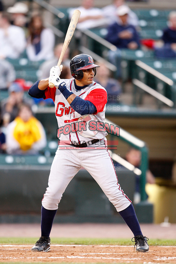 June 3, 2009:  Barbaro Canizares of the Gwinnett Braves at bat during a game at Frontier Field in Rochester, NY.  The Gwinnett Braves are the International League Triple-A affiliate of the Atlanta Braves.  Photo by:  Mike Janes/Four Seam Images