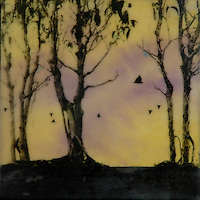 Mixed media golden sunset forest encaustic painting