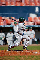 Dartmouth Big Green shortstop Nate Ostmo (5) bats during a game against the Bradley Braves on March 21, 2019 at Chain of Lakes Stadium in Winter Haven, Florida.  Bradley defeated Dartmouth 6-3.  (Mike Janes/Four Seam Images)