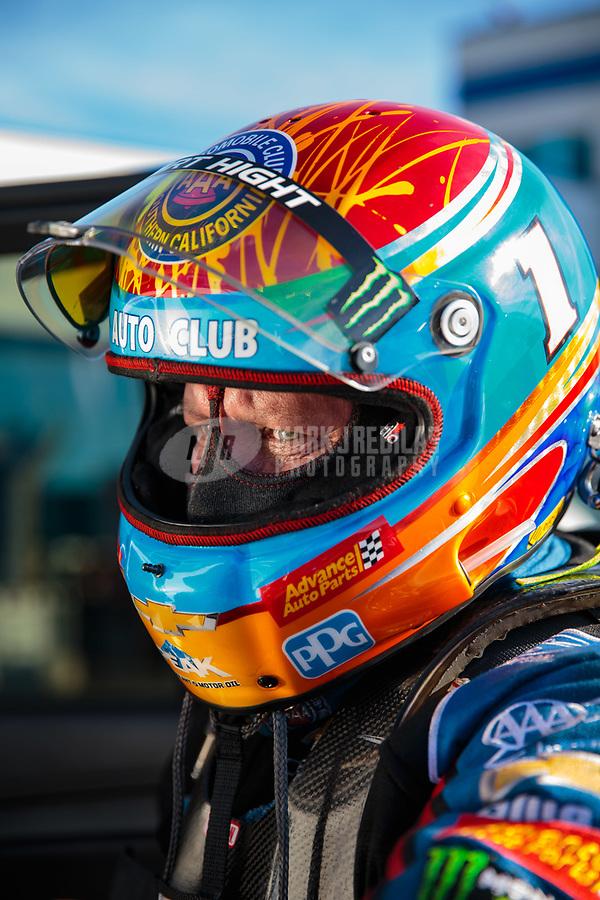 Oct 13, 2018; Concord, NC, USA; NHRA funny car driver Robert Hight during qualifying for the Carolina Nationals at zMax Dragway. Mandatory Credit: Mark J. Rebilas-USA TODAY Sports
