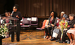 Charlayne Woodard, Sarah Jones, Micki Grant and Stephen Schwartz on stage at the The Lilly Awards  at Playwrights Horizons on May 22, 2017 in New York City.
