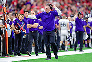 Indianapolis, IN - DEC 1, 2018: Northwestern Wildcats head coach Pat Fitzgerald is not happy with a call by the referee's during second half action of the Big Ten Championship game between Northwestern and Ohio State at Lucas Oil Stadium in Indianapolis, IN. Ohio State defeated Northwestern 45-24. (Photo by Phillip Peters/Media Images International)
