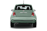 Straight rear view of 2016 Fiat 500 Pop 3 Door Hatchback Rear View  stock images