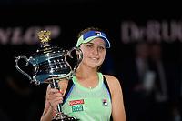 January 1, 2020: 14th seed SOFIA KENIN (USA) celebrates after defeating GARBIÑE MUGURUZA (ESP) on Rod Laver Arena in the Women's Singles Final match on day 13 of the Australian Open 2020 in Melbourne, Australia. Photo Sydney Low. Kenin won 46 62 62