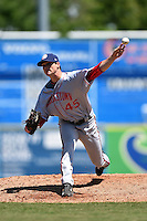Hagerstown Suns pitcher Justin Thomas (45) delivers a pitch during a game against the Lexington Legends on May 19, 2014 at Whitaker Bank Ballpark in Lexington, Kentucky.  Lexington defeated Hagerstown 10-8.  (Mike Janes/Four Seam Images)