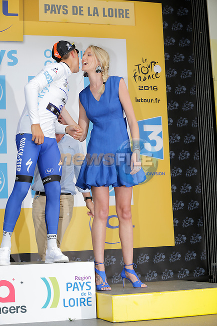 Julian Alaphilippe (FRA) Etixx-Quick Step retains the young rider's White Jersey at the end of Stage 3 of the 2016 Tour de France, running 223.5km from Granville to Angers, France . 4th July 2016.<br /> Picture: Eoin Clarke | Newsfile<br /> <br /> <br /> All photos usage must carry mandatory copyright credit (&copy; Newsfile | Eoin Clarke)