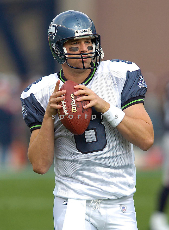 Matt Hasselbeck during the Seattle Seahawks v. New England Patriots on October 17, 2004...Patriots win 30-20..Chris Bernacchi / SportPics