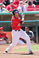 Vinnie Catricala #23 of the High Desert Mavericks bats against the Lancaster JetHawks at Mavericks Stadium in Adelanto,California on May 30, 2011. Photo by Larry Goren/Four Seam Images