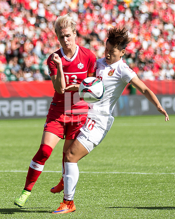Edmonton, Alberta, Canada - June 6, 2015: The opening game of the Women's World Cup at Commonwealth Stadium. Canada beats China 1-0 with a goal on a penalty kick in extra time.