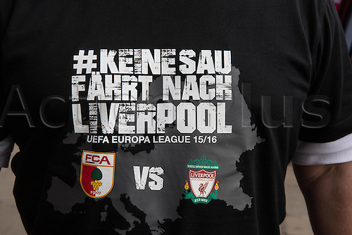 25.02.2016. Liverpool, England.  UEFA Europa League game between Liverpool FC and Augsburg.  An Augsburg supporter with special game Jersey for the match