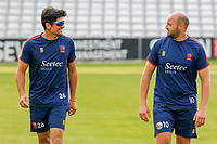 Sir Alastair Cook (l) chats with Nick Browne both of Essex during Essex CCC Training at The Cloudfm County Ground on 22nd July 2020