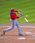 23 February 2013: Washington Nationals infielder Carlos Rivero in Spring Training action against the New York Mets at Tradition Field in Port St. Lucie, Florida. The Mets defeated the Nationals 5-3 in their Grapefruit League Opening Day game. Mandatory Credit: Ed Wolfstein Photo *** RAW (NEF) Image File Available ***
