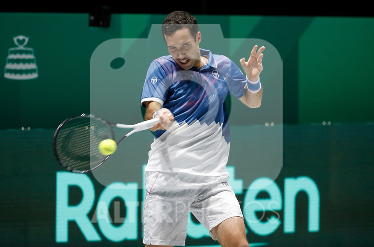 Mikhail Kukushkin of Kazakhstan plays a forehand against Mikhail Kukushkin of Kazakhstan during Day 2 of the 2019 Davis Cup at La Caja Magica on November 19, 2019 in Madrid, Spain. (ALTERPHOTOS/Manu R.B.)