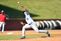 Burlington Royals starting pitcher Drew Parrish (46) delivers a pitch during a game against the Greenville Reds at Pioneer Park on August 11, 2019 in Greeneville, Tennessee. The Royals defeated the Reds 8-1. (Tony Farlow/Four Seam Images)