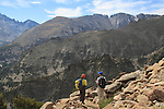 Photographers hiking the Flattop Mountain Trail in Rocky Mountain National Park, Colorado.<br />