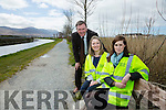 Rejuvenation of canal walkway first stage of €2.2m Tralee Active Travel Town initiative between Tralee and Blennerville is to get underway on Monday next, April 11. Pictured  Tralee Deputy Mayor Cllr. Graham Spring  Anna Maria Costello, Assistant planner, and Niamh Fannon, Assistant Engineer