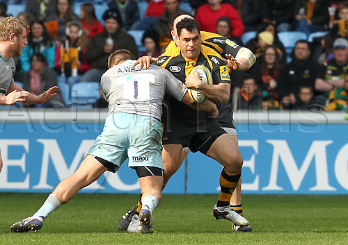 03.04.2016. Ricoh Arena, Coventry, England. Rugby Aviva Premiership. Wasps versus Northampton Saints. Wasps George Smith in action.