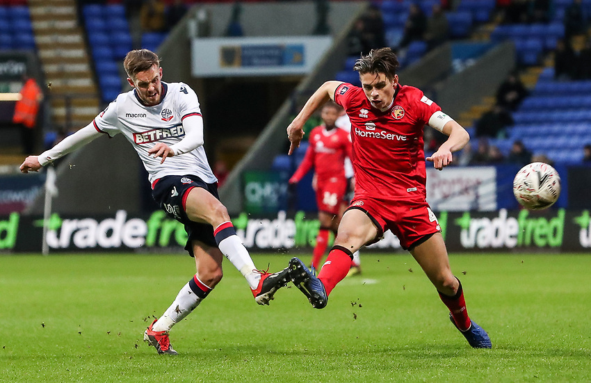 Bolton Wanderers' Craig Noone competing with Walsall's George Dobson<br /> <br /> Photographer Andrew Kearns/CameraSport<br /> <br /> Emirates FA Cup Third Round - Bolton Wanderers v Walsall - Saturday 5th January 2019 - University of Bolton Stadium - Bolton<br />  <br /> World Copyright © 2019 CameraSport. All rights reserved. 43 Linden Ave. Countesthorpe. Leicester. England. LE8 5PG - Tel: +44 (0) 116 277 4147 - admin@camerasport.com - www.camerasport.com