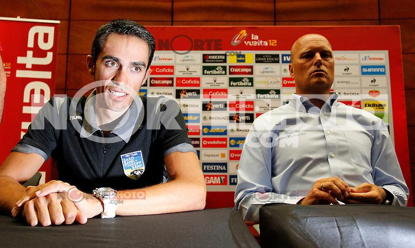 Alberto Contador (l) and the General Manager of Team Saxo Bank Bjarne Riis in press conference during La Vuelta 2012. August 17,2012. (ALTERPHOTOS/Alfaqui/Paola Otero) /NortePhoto.com<br /> <br /> **CREDITO*OBLIGATORIO** <br /> *No*Venta*A*Terceros*<br /> *No*Sale*So*third*<br /> *** No Se Permite Hacer Archivo**<br /> *No*Sale*So*third*