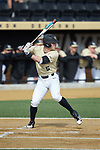 Jake Mueller (6) of the Wake Forest Demon Deacons at bat against the Louisville Cardinals at David F. Couch Ballpark on March 18, 2018 in  Winston-Salem, North Carolina.  The Demon Deacons defeated the Cardinals 6-3.  (Brian Westerholt/Sports On Film)